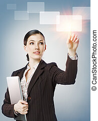 making choice - successful person making use of innovative...