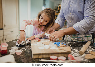 Making Christmas Biscuits With Dad