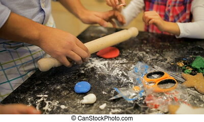 Making Christmas Biscuits With Dad - Little girls are making...