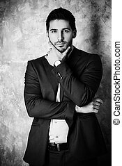 making decision - Black-and-white portrait of a handsome man...