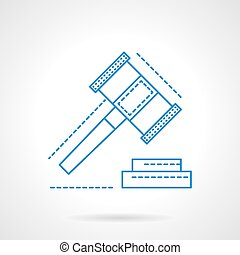 Making decisions abstract blue line vector icon - Gavel as ...