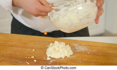 Making dough for dumplings