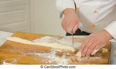 Making dough for dumplings
