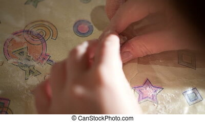 Making dumplings - Close-up of female hands making dumplings...