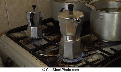 Making espresso shots - A shot of of coffee powder being...