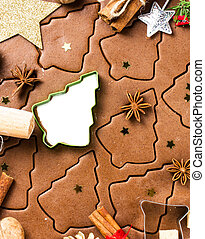 Making gingerbread cookies for Christmas. Gingerbread dough with