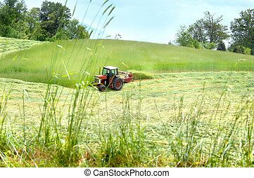 Making Hay - Tennessee farmer travels across field in a red ...