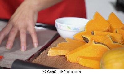 Making homemade pumpkin pie with fresh pumpkin for Thanksgiving dinner