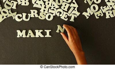 Making Ideas Happen - A person spelling Making Ideas Happen...