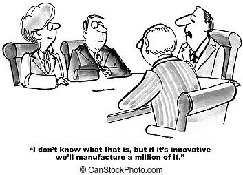 Making Innovative Products - Business cartoon about a boss...