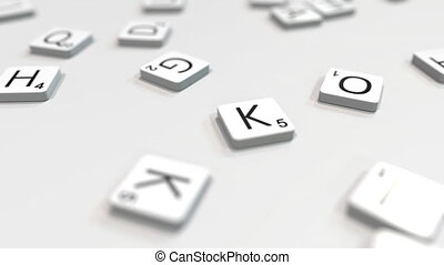 Making KANO city name with letter tiles. 3D animation - City...