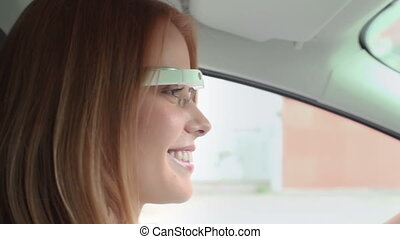 Making Life Easy - Close up of pretty lady in google glass...