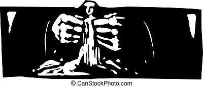 Making Man - Woodcut style expressionist image of god...
