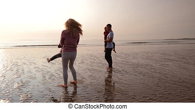 Making Memories at the Beach - Slow motion of a family...