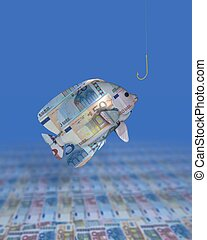 making money - a fish consisiting of euro notes being...