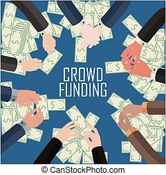 making money concept - conceptual illustration of crowd...