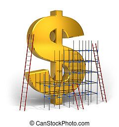 Making money concept: golden dollar sign with scaffold and...