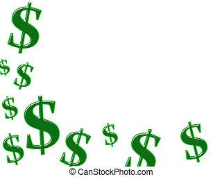 Making Money - Green dollar symbols isolated on white...