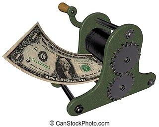 Making money on hand press - 3D illustration of making money...
