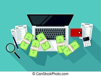 Making money online and cost control concept. Flat style with long shadow