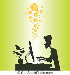Cartoon silhouette of a man making money online from the internet.