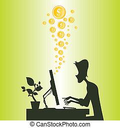 Making Money Online - Cartoon silhouette of a man making...