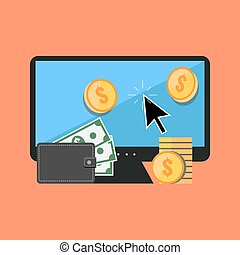 Making money online concept. Flat design stylish. Isolated...