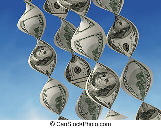 Making money - Strings of dollars in the form of DNA - 3d...