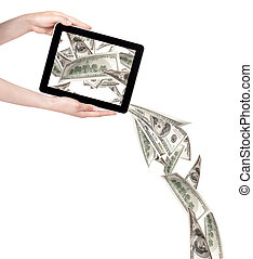 making money with computer concept