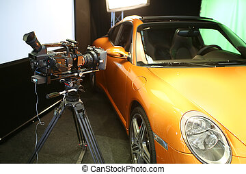 making movie  - camera and car for movie production