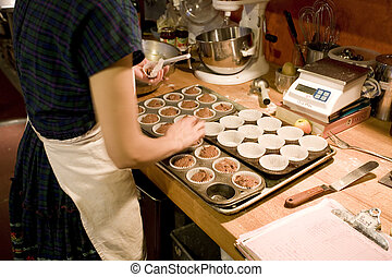 Making Muffins in the Organic Bakery