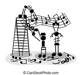 Illustration concept of musical note people making music, on a white background.