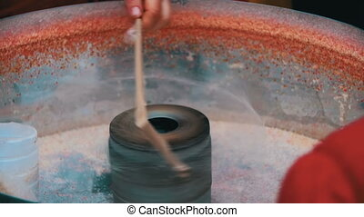 Making of Cotton Candy in Slow Motion