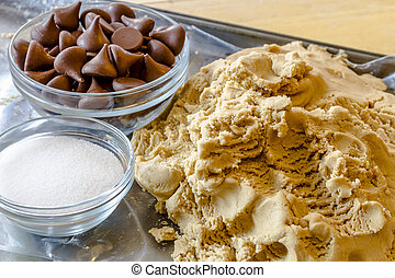 Making of Peanut Butter Cookies - Close up of ball of peanut...