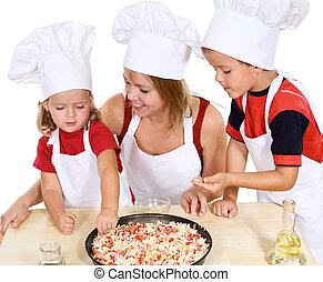 Making pizza with the kids