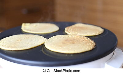 Making Pumpkin Pancakes on Frying Pan. Homemade Griddle Cakes. HD, 1920x1080.