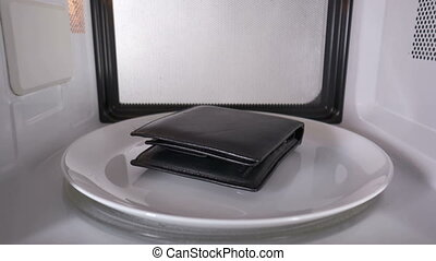 Making quick cash leather wallet microwaving inside...