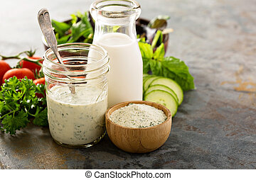 Making ranch dressing from a dry mix with milk and yogurt
