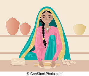 making roti - an illustration of an indian woman rolling out...