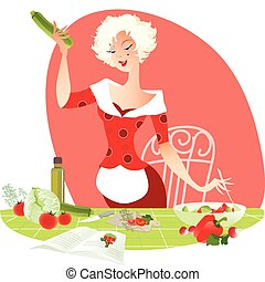 Illustration of a blond lady making summer salad by receipt