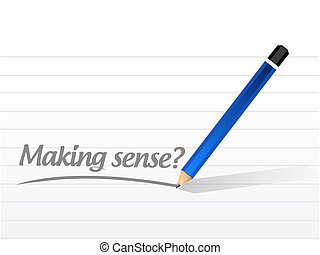 Making sense question illustration design over a white ...
