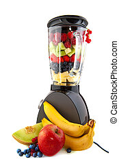 Blender and fresh fruit to make smoothies isolated over white
