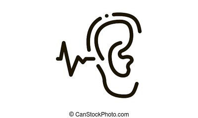 Making Sounds By Ear Icon Animation. black Making Sounds By Ear animated icon on white background