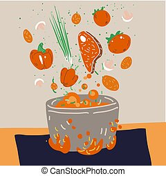 Making soup vector concept. Pot with bulbing delicious food on a fire and all ingredients around it - vegetables, meat, seasonings and Flavoring. Professional and Home cooking concept