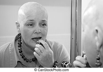 Making The Effort - A woman bald due to a health issue,...