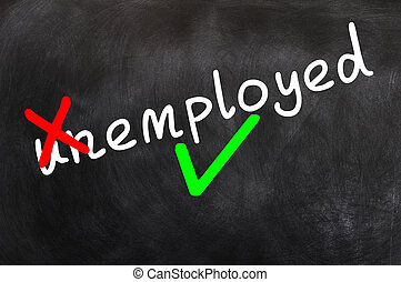 Concept of making the unemployed employed written on a blackboard