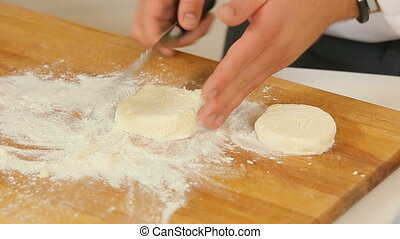 Making thick pancakes from the raw dough