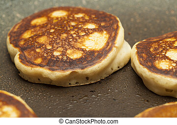 making thick pancakes - making thick rye and wheat pancakes