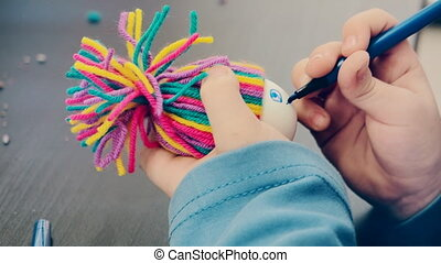making toys at the art and craft lesson, creative hobby