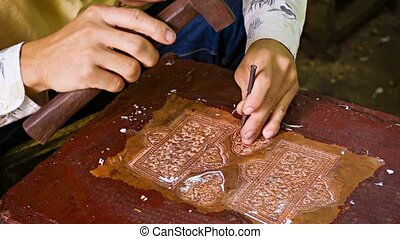 Making traditional coinage. Cambodia,Siem Reap - Video 1080p...